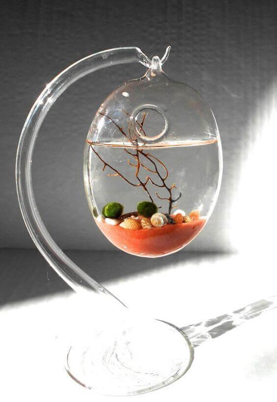 Мини-аквариумы на дизайнерских подвесках